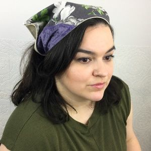 Hand crafted floral velvet patchwork head scarf